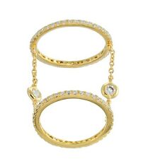 18K YELLOW VERMEIL-Pave+Bezel 5A Cubic Zirconia Layered Chain Knuckle Ring