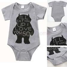 Summer Cotton Newborn Infant Baby Jumpsuit Bodysuit Clothes Outfit Romper Gray