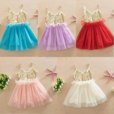 Princess Girls Kids Baby Sequins Wedding Party Tulle Tutu Skirt Dress Sundress