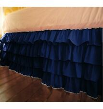 "Soft Multi Ruffle Bed Skirt Egyptian Cotton 1000 TC Drop(15"") Navy Blue Solid"