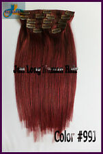 7pcs 105g Clip In Real Human Hair Extensions Remy Hair Burgundy Red Full Head US