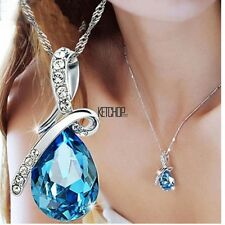 Women's Wedding Silver Chain Crystal Rhinestone Pendant Necklace Jewelry Gifts