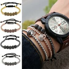 Men's Braided Macrame Bracelets Black Rope Zircon Balls Beaded Bangle Adjustable