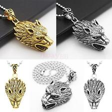 Punk Cool Stainless Steel Cool Wolf's Head Pendant Necklace Jewelry for Men