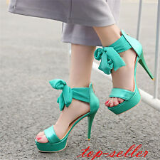 Womens high heel stiletto big bow knot platform open toe party sandal shoes new