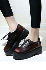 Si Punk Womens Creeper Platform shoes Lace up Round toe PU Leather US Size 4.5-8