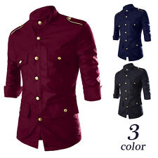New Mens Military Formal Tops Slim Fit Dress Epaulet Shirts Casual Shirts Tee