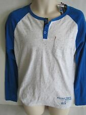 BUFFALO Men's Blue Combo Henley Long Sleeve Shirt Size XL NWT