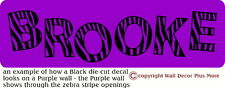 Zebra Letters Personalized Wall Decal Vinyl Sticker DieCut Decal Room Decor 6in