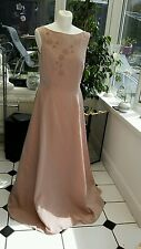 GINA BACCONI (Size 14) Pink Satin Long Maxi Ballgown Wedding Prom Dress