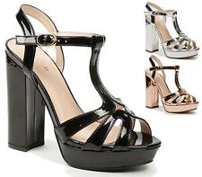 WOMENS PEEP TOE STRAPPY PLATFORM LADIES HIGH HEEL SANDAL SHOES SIZE 3-8