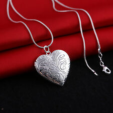 Women 925 Silver Heart LOCKET Photo Charm Pendant Necklace Wedding Love Propose