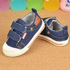 Convas Demin Velcro Flat Sneakers Trainers Fashion Baby Girl Boys Board Shoes