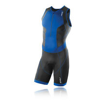 2XU Perform Trisuit Mens Blue Black Compression Triathlon Suit Cycling Tights