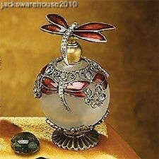 Red Jeweled Dragonfly Top & Neck Perfume Bottle Fragrance Container Decoration