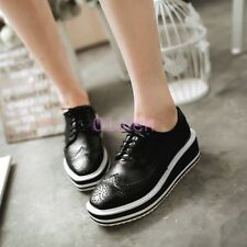 Womens Wing Tip Oxford Platform Wedge Creeper Lace Up Punk Brogues Shoes Plus SZ