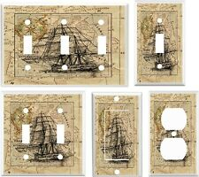 Light Switch Cover Plate ~ Old World Map & Ship Antique inspired design