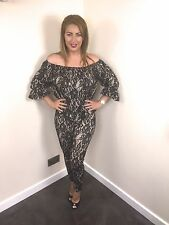 Stunning Black/Nude Off The Shoulder Lace Trim Gypsy Suit With Trousers BNWT £60