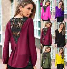 Hot Women V-Neck Shirt Lace T-shirt Chiffon Blouse Fashion Long Sleeve Tops