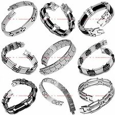 HBRM0096 MANY STYLES MEN'S STAINLESS STEEL CHAIN LINK CUFF BANGLE BRACELET
