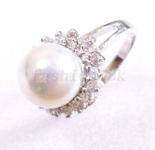 Women White Gold Plated Simulated Diamond Shell Pearl Ring Size M O P