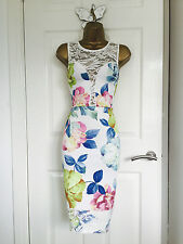 White Lace Wiggle Midi Floral Party Evening Bodycon Occasion Dress BNWT £65