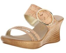 Onex Cynthia Wedge Cork Slip-On Sandals with Rhinestones