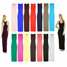 NEW WOMENS LADIES JERSEY MUSCLE RACER BACK MAXI LONG VEST SUMMER DRESS 8-26
