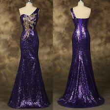 New Sequins Mermaid Long Prom Dress PURPLE Bridesmaid Evening Gown Party Dress