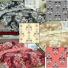 Damask Floral Reversible Single Double King Bed Duvet Quilt Cover Set New Gift