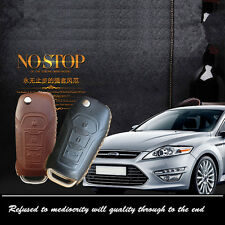 Leather Car Remote Key Fob Case Holder Cover Chains Fit For Ford FUCOS car key