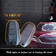Leather Car Remote Key Fob Case Holder Cover Chains Fit For CITROEN Remote Key