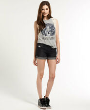 New Womens Superdry Boyfriend Shorts Rockers Black
