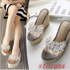 Rhinestone Summer Women Girls Wedge Heel Sandals Flip Flop Platform Shoes Size