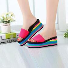 1Pair Ladys Sexy Casual Rainbow Wedge Heel Platform Sandals Beach Slippers Shoes