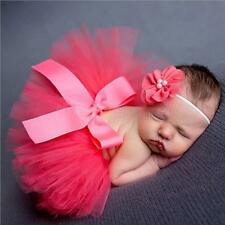 Newborn Baby Girls Headdress Flower+Tutu Clothes Skirt Photo Prop Costume Outfit