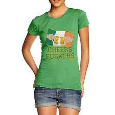 Twisted Envy Women's Cheers F**kers Irish Flag Beer St Patrick's Day T-Shirt