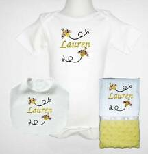 Embroidered Personalized Baby Girl Yellow Ladybug One Piece Bib Burp Cloth Set