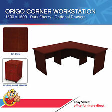 Corner Workstation Office Desk, Computer Study Desks, Dark Cherry - 1500 x 1500