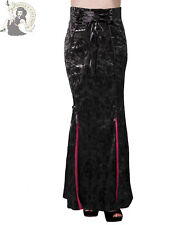 BANNED GOTHIC IVY victorian FLOCKED SATIN goth LONG fishtail maxi SKIRT BLACK