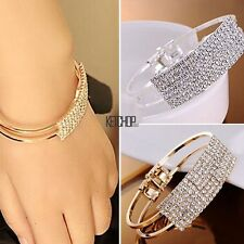 New Women Charm Style Gold Rhinestone Bangle Cuff Bracelet Jewelry KECP
