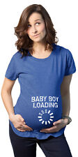 Maternity Baby Boy Loading Pregnancy Bump Announcement T shirt (Heather Royal) -
