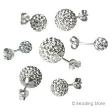 925 Sterling Silver & Clear / White Crystall Ball Bead Earrings Ear Rings Studs