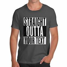 Twisted Envy Men's Personalised STRAIGHT OUTTA - Your Custom TEXT T-Shirt
