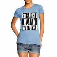 Twisted Envy Women's Personalised STRAIGHT OUTTA - Your Custom TEXT T-Shirt