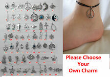 A Charm Black Leather Ankle Bracelet Anklet Barefoot Foot Chain Choose Design