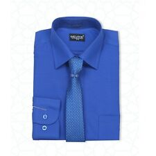 MEN'S & BOYS FORMAL ROYAL BLUE SHIRT AND TIE SET WEDDING PROM SUIT SHIRTS