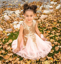 New Summer Girls Dress Gold Sequin Sundress Sleeveless Girl princess dress 2-7T