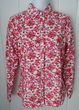 LANDS END Womens Supima Cotton No Iron Ikat Floral 3/4 Sleeve Shirt Top Size 2