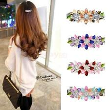 Fashion Women Girl Flower Full Crystal Rhinestones Barrette Hair Clip Hairpin